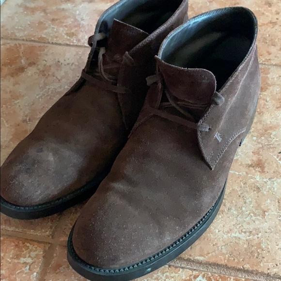 Men Tods Dark Brown Suede Desert Boots